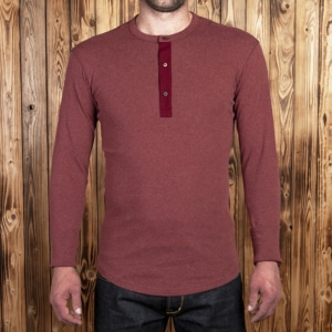 1927 Henley Shirt long sleeve granate red